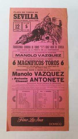 CARTEL DE TOROS:  M. VÁZQUEZ,  ANTOÑETE - foto 1