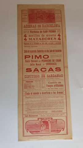 CARTEL TAURINO:  PIMO,  SACAS,  BASAURI. . .  - foto 1