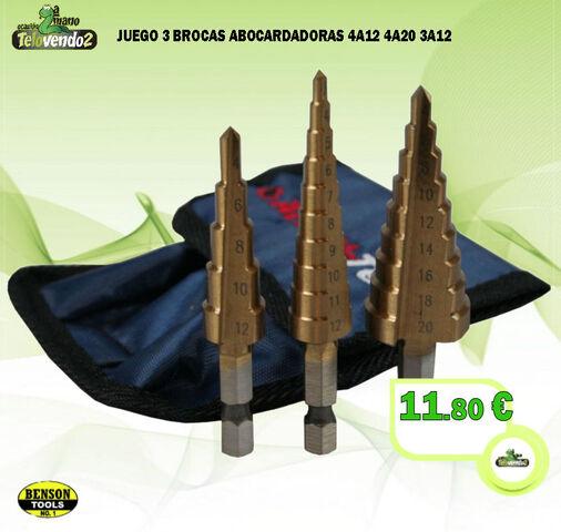 Juego 3 Brocas Abocardadoras 4A12 4A20 4
