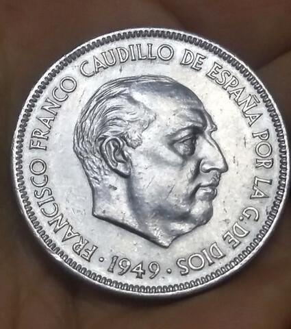 Moneda 5 Pesetas 1949*49 Franco