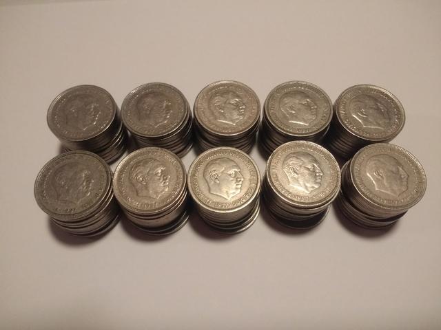 Lote De 100 Monedas De 5 Pesetas Franco