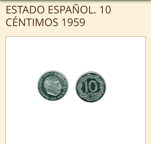 Monedas 10 Ctms 1959 España