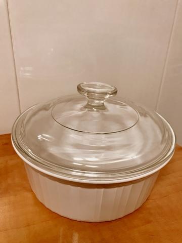 de 0,8 litros color blanco Corningware Cacerola redonda de vidrio Pyroceram modelo Dimensions