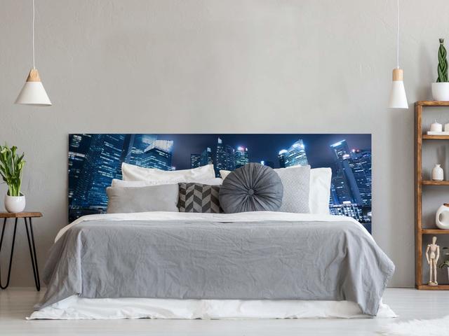 Juvenil y Cama Matrimonio ONEK-DECCO Cabecero de Cama Mod.Ying Yang tapizado en Polipiel,Acolchado de Espuma Varias Medidas y Colores,Cabezal ni/ños 90x70, Blanco-Azul