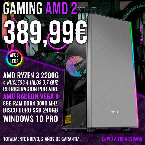 PC GAMING RYZEN 3 2200G VEGA 8 8GB 240GB - foto 1