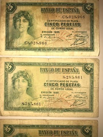 Billetes 5 Pesetas 1935