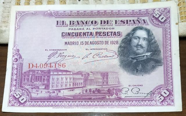 Billete Cincuenta Pesetas 1928