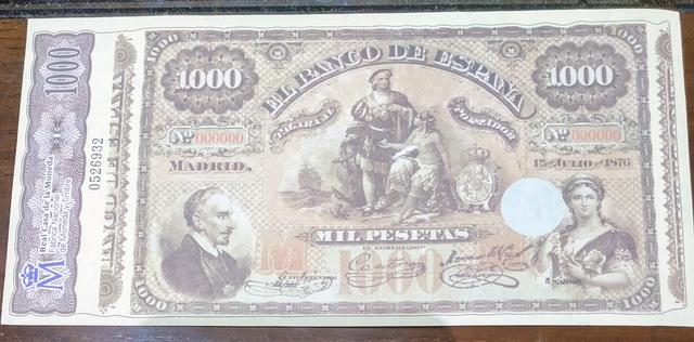 Billete Facsímil 1000 Pesetas De 1876