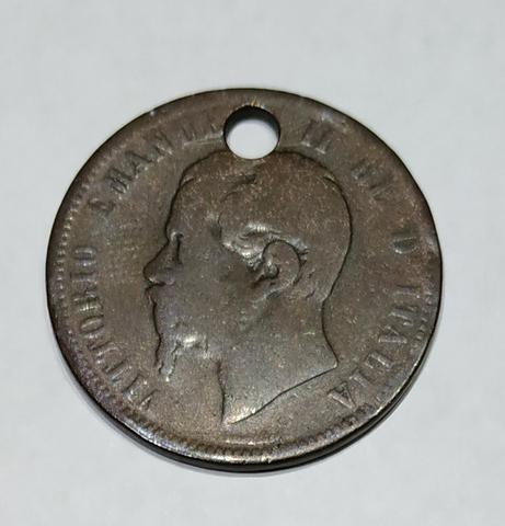 Moneda 10 Centemisi Italia 1862