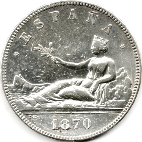 Vendo 5 Pesetas De Plata 1870