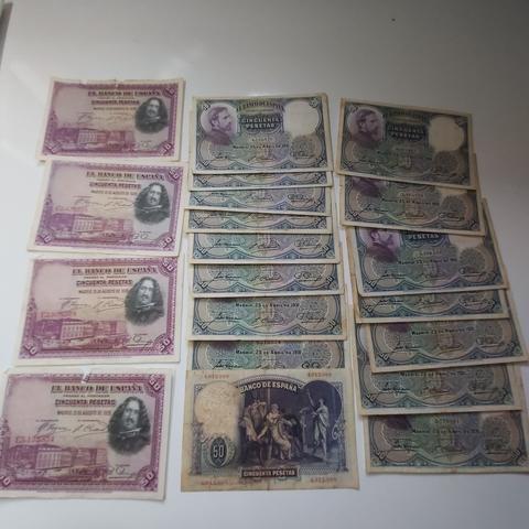Lote Billetes De 50 Pesetas 1928 Y 1931