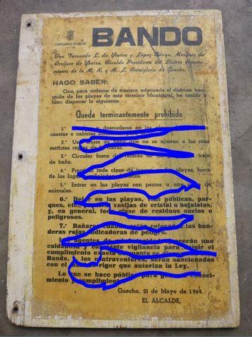 Cartel Getxo Antiguo Prohibido 1964