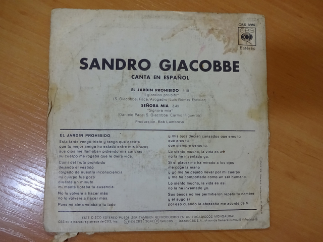 Mil Anuncios Com Sandro Giacobbe Disco Vinilo Lp Año 1975