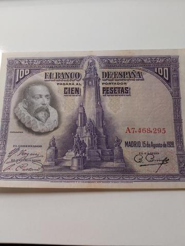Billetes 100 Pesetas Agosto 1928