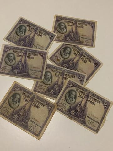Lote De Billetes 100 Pesetas De 1928