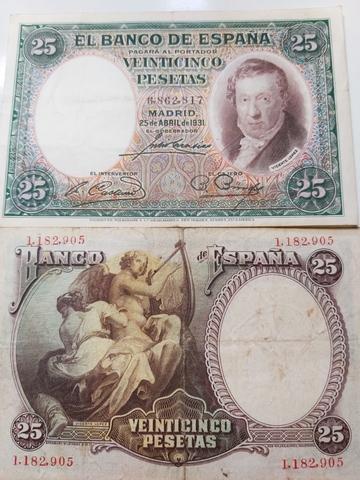 2 Billetes De 25 Pesetas De 1931