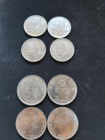 Lote Monedas 25 Y 50 Pesetas 1980