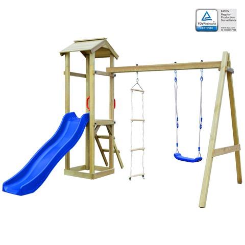 vidaXL Set de Columpios y Escaleras Madera Pino FSC 268x154x210 cm Marrón Azul