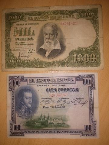 Billetes De 1000 Y 100 Pesetas