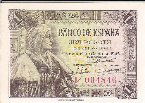Billete De  1 Ptas. De 1945   (S/C)