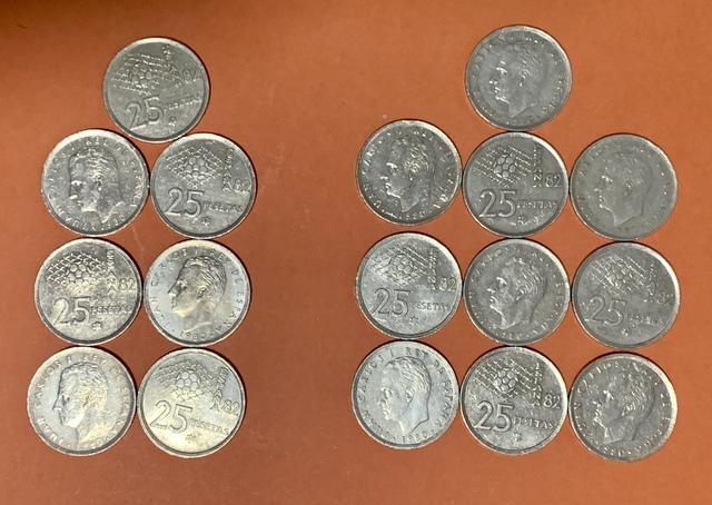 17 Monedas De 25 Pesetas 1980.