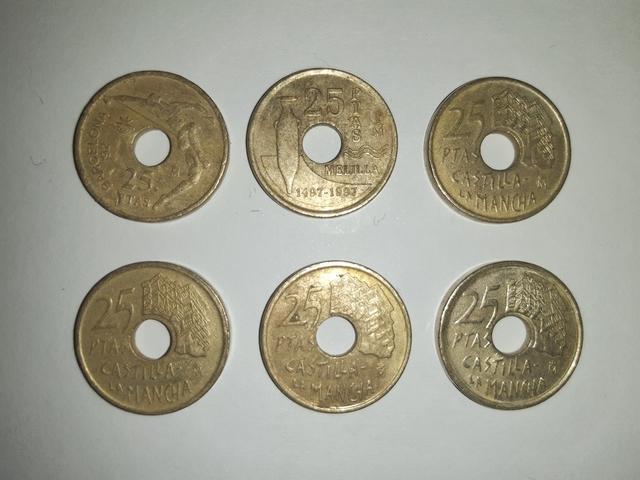 Monedas 25 Pesetas Con Agujero