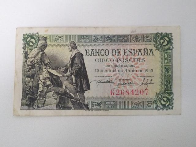 Billete 5 Pesetas Santa Fe 1945