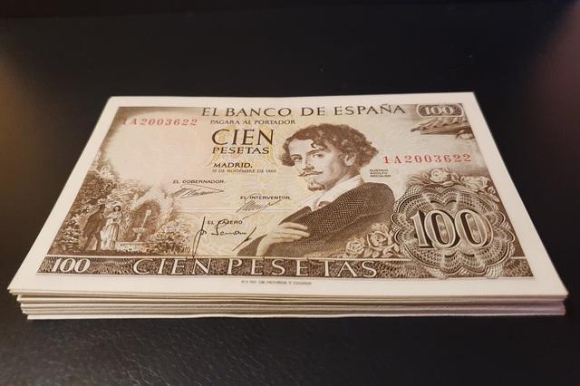 Lote Billetes 100 Pesetas 1965  Becquer
