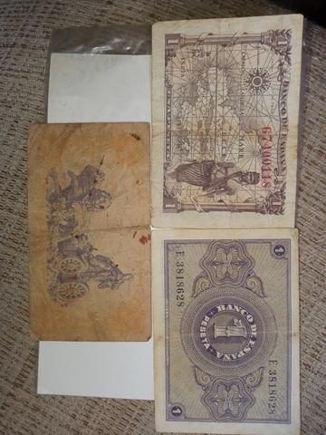 3 Billetes De 1 Peseta Antiguos