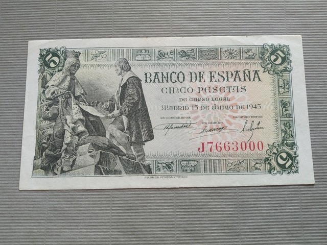 Billete 5 Pesetas Año 1945