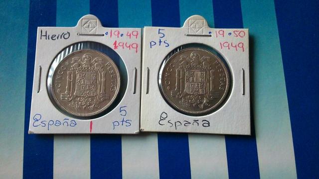 2 Monedas Franco 5 Pts.  1949*49 Y *50.