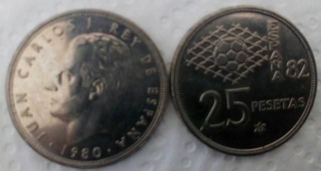 Monedas 25 Ptas J. Carlos Mundial 82
