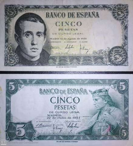 2 Billetes De 5 Pesetas De 1951 Y 1954