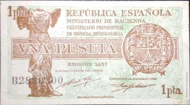 1 Pesetas 1937 Republica Española,Sc