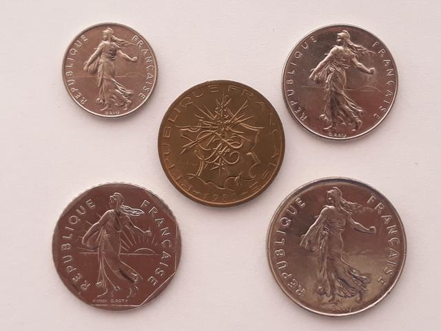 5 Monedas Francia Anteriores Euro