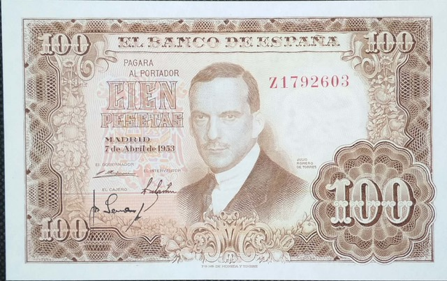 100 Pesetas 1953 Serie Z, Sc/Plancha