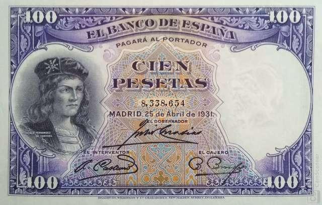 100 Pesetas 1931, Sin Circular/Plancha