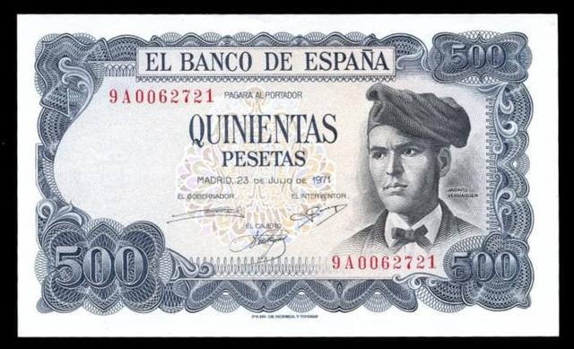 Billete 500 Pesetas 1971.Serie 9A