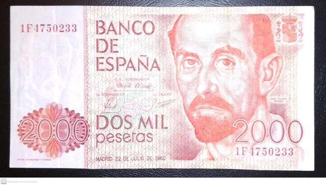 Billete De 2000 Pesetas 1980