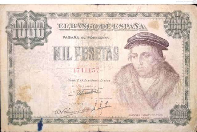 1000 Pesetas 1946 Luis Vives