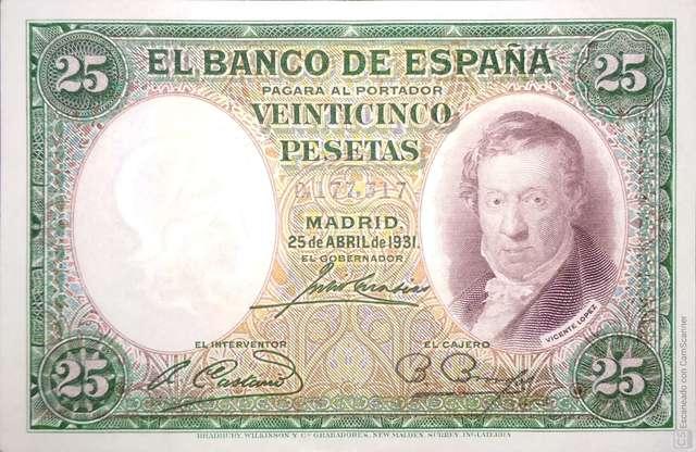 25 Pesetas 1931, Nºbajo, Sin Circular