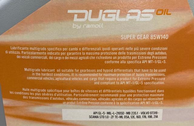 5L ACEITE 85W140 DUGLAS SUPER GEAR - foto 3