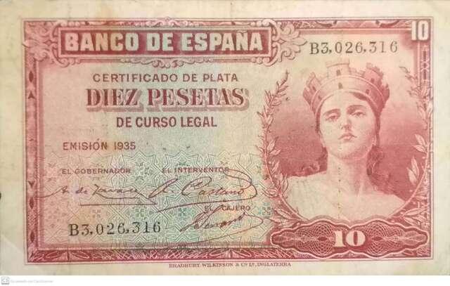 50 Pts 1931 Con Resello En Seco Burgos