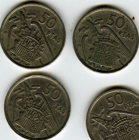 4 Monedas De 50 Pta Franco 1.957 Estrel