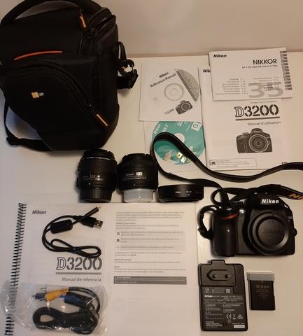 KIT DE NIKON D3200+2 OBJETIVOS+CARD 32GB - foto 1