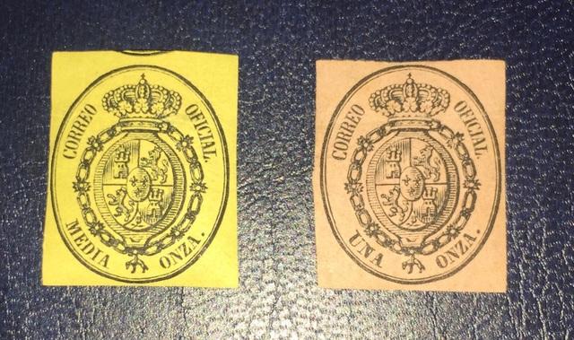 2 Sellos España De 1855-Escudo De España