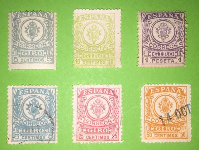 """Serie 6 Sellos España 1915 """"Giro Postal"""""""