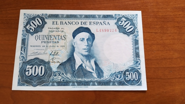 Billete 500 Pesetas 1954.
