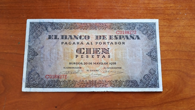 Billete 100 Pesetas Año 1938.