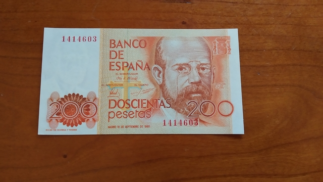 Billete 200 Pesetas Año 1980.